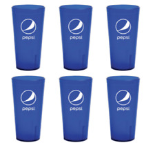 New (6) Pepsi Cola Restaurant Blue Plastic Tumblers Cups 16oz Carlisle