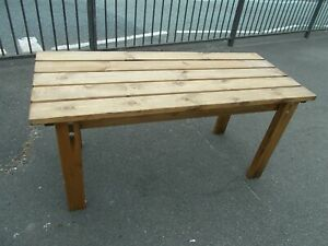 Oblong Pine Patio Side Table 50 inch long x 21 w x 24 high  Buyer to collect