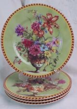 FRENCH HOME 4 DESSERT PLATES FLORAL PATTERN FRANCE