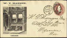 USA 1885 2c Brown Hansen Chicago Western Land Illustrated Advertising Envelope