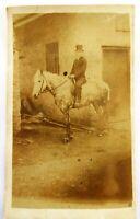 1860s Victorian Carte de Visite Card Photograph of Man on Horse