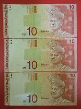 (C) RM10 10th Series - 3 pcs Runnings nos BJ 3345013 - 15 (UNC)