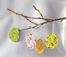 4 Aufhänger Ostereier aus Holz 6cm, rosa, grün, gelb, orange Ostern, Osterstrauß
