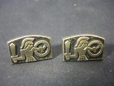 Old Vtg Gold Tone Black Cufflinks Jewelry Centurion Soldier Roman Theme