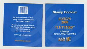 S36762 Malta Europa Cept MNH 2008 Booklet Letters