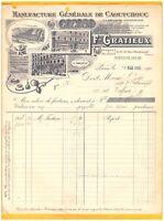 """PARIS (XI°) USINE de CAOUTCHOUC / BAZAR """"F. GRATIEUX"""" en 1912"""