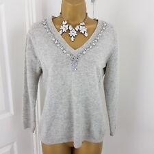 Dolores Jumper Merino Wool Cashmere Angora Cardigan Grey Size UK 10 EU 36