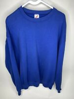 Vintage 90s Crewneck Sweatshirt XL Jerzees Blank Blue Made In USA