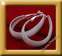 Creolen Ohrstecker, 925 Sterling Silber Ohrringe -  Oval Creolen