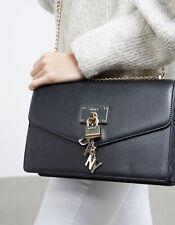 DKNY Elissa Large Shoulder Flap Bag - Black / Gold - RRP £245