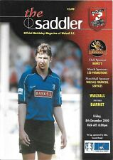 Football Programme>WALSALL v BARNET Dec 2000