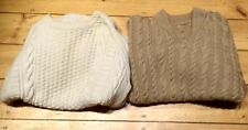 3 CREAM TAN HAND KNITTED ARRAN WOOL JUMPER CABLE CHEST BURGUNDY MEASURES 46""