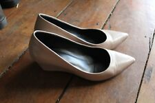 JO MERCER Leather Skin Beige Pointy Heels 25 cm  6 cm Wedge Heel  Size  6.5 cm