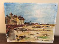 tableau ancien huile sur panneau O.CHEVINION (XXe-s) paysage cotié