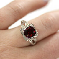 2.6 ct tw Natural Red Garnet & Diamond Solid 14k White Gold Halo Cocktail Ring