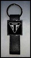 Porte-clés Acier/Simili Cuir logo TRIUMPH (Fond noir)