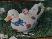 lenox - poppies on blue duck teapot-  new- mint in original box
