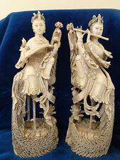 Paar antike Skulpturen musizierende Hofdamen China 19.Jh Flötenspielerin