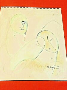 """BEATRICE WOOD """"The Man Who Was Unreasonable"""" 1988 Original drawing BEATRICE WOOD"""