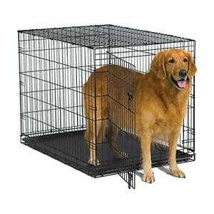 New World 42 Inch Folding Metal Dog Crate Includes Leak-Proof Plastic Tray Do...