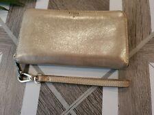 Fossil Wallet Leather Convertible Wristlet Zip Around Wallet Gold Metallic Shiny
