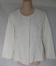 EILEEN FISHER EMBROIDERED COTTON SQUARES RNDNK BRCLT SLEEVE JACKET M