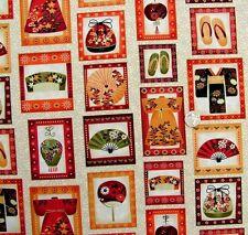 Kimono BLOCCHI su Crema Tessuto FQ 50 x 56 cm 100% cotone Makower MK837Q