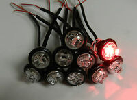 """(10) Truck Trailer Lights LED 1 Diode Clear / RED 3/4"""" Clearance, Bullet"""