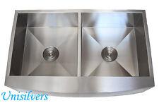 """36"""" STAINLESS STEEL Kitchen Sink Zero Radius Apron CURVE FRONT Double Bowl 50/50"""
