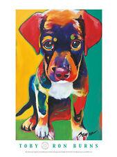 DOG BEAGLE ART PRINT - Toby by Ron Burns 18x24 Poster