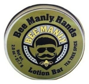 Bee Manly Hands Tea Tree Spice Mens Bee Solid Lotion Bar Dry Skin Honey House