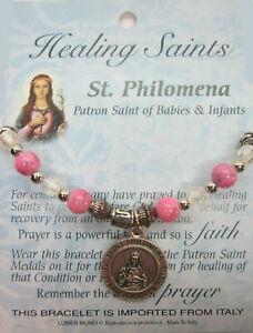 Healing Saints Stretch Charm Bracelet St Philomena Patron of Babies and Infants