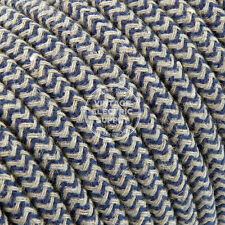 Denim Linen ZigZag Cloth Covered Electrical Wire - Braided Linen Fabric Wire