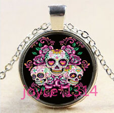 Sugar Flower Skull Cabochon Tibetan silver Glass Chain Pendant Necklace #3609