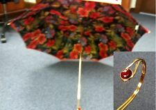 PASOTTI- RED FLOWERED HAND MADE ITALIAN UMBRELLA-NWT **10% MARK DOWN**