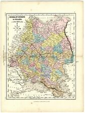 1868 Antique Map RUSSIA IN EUROPE & POLAND Drawn Engraved J. Archer COLOUR