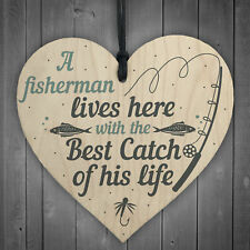 Grandad Lives Here CARP Fishing Wood Signs Plaque Fathers Day Dad Birthday Gifts
