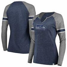 Seattle Seahawks Women's Static Notch Neck Long Sleeve Shirt - Navy/Gray