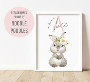 Personal Custom Name Letter Initial Pink Baby Nursery Print Kids Room Wall Art