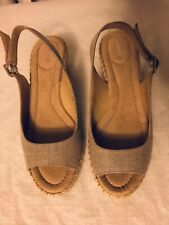 7958a636ef2e Lands  End Women s Wedge Slingback Sandals Beige Canvas Peep Toe Size 6.5B
