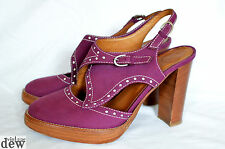 HOBBS heels nw3 purple suede BROGUE 1940's clog sandals VINTAGE 37.5 4.5
