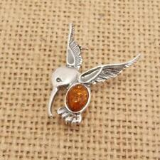 Cognac Baltic Amber 925 Silver Bird Brooch/Pin Jewellery