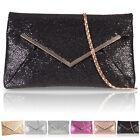 Glitter Shiny Envelope Women Clutch Bag Bridal Designer Ladies Evening Party UK
