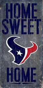 """Houston Texans Home Sweet Home Wood Sign - NEW 6"""" x 12"""" Wall Decoration Gift"""
