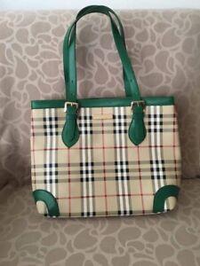 Burberry PVC Green Leather Tote Handbag