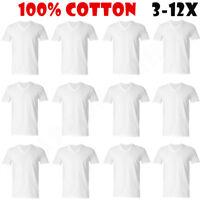 3-12-Pack V-Neck For Men's 100% Cotton Tagless T-Shirt Undershirt Tee White