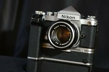 Nikon F2 prism DE1 body silver with 50 mm Motor Md2 + Mb1 all perfect working