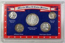 World War Ii Coin Series 5 Coin Set Mixed Dates w/ Silver Half, Quarter & Dime