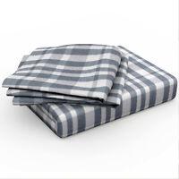 Bamford 100% Cotton Soft Checked Check Quilt Duvet Cover Bedding Set Blue Grey
