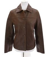 Vtg J Crew Womens Genuine Leather Bomber Button Up Jacket Brown Sz Small